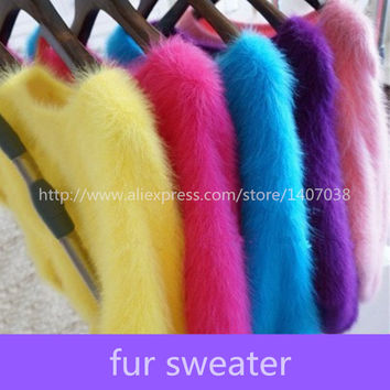 100% mink sweater Women Sweaters and pullovers Pure fur sweater Knitted Pullover ladies sweater