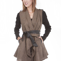 Double Zero Houndstooth Coat with Faux Leather Belt.