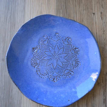 Amazing Blue Ceramic Plate  handmade by christianesutherland