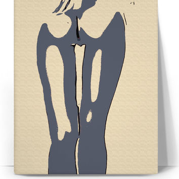 NSFW! Body in blue canvas art print, abstract erotic artwork, sexy girl naked