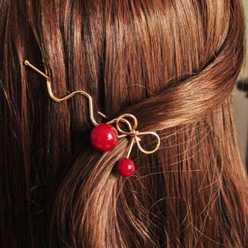 DKF4S 3PCS Sweet Women Girls Korean Style Red Cherry Shaped Bow Hairpin Twist Hair Clip Headdress