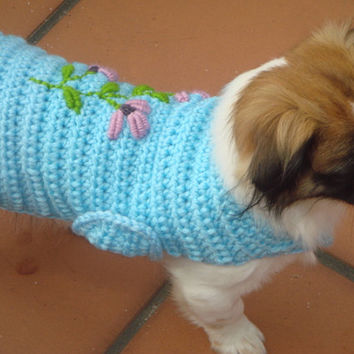 Winter Dog Sweater fashion 2.017 collection Handmade. Dog coise sweater embroidery crochet. Soft blue embroidery coat unique dog fashion.