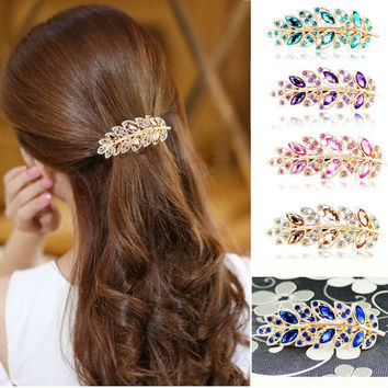 Luxury Crystal Leaves Hairpins Spring Clip