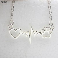 hzew cute Animal vintage jewelry necklaces love Cats and Dogs Paws and heart Heartbeat necklace Paw necklaces & pendants