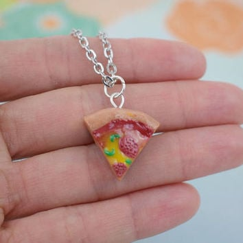 Pizza Slice Necklace | Polymer Clay | Food Necklace | Miniature Food | Charm Necklace | Handmade Gift | Cute Kawaii