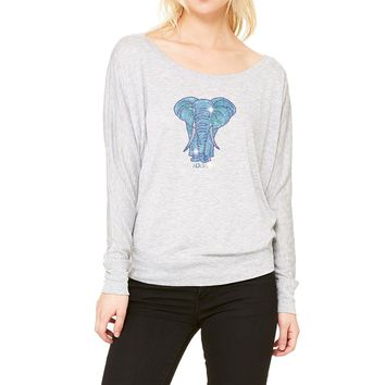 RHINESTONES Lady Elephant  Boat Neck T-Shirt. Made by Lucky B