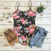 Bunches of Roses Bodysuit-Black