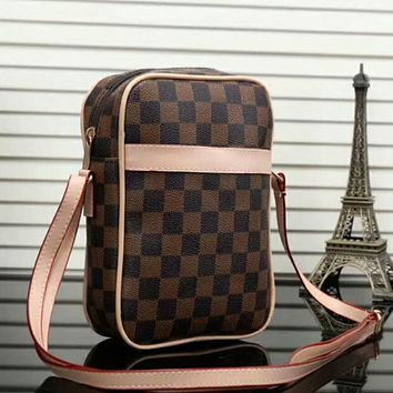 LV Leather Crossbody Satchel Shoulder Bag Brown Tartan I-LLBPFSH