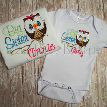 Big/ Little Sister applique shirts- Sibling applique shirt- Owl