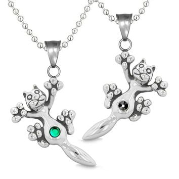 Amulets Cute Kitty Cat Love Couples or Best Friends Set Green Black Sparkling Crystals Necklaces