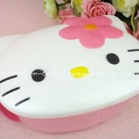 Hello Kitty Head Shape Divided Lunch Box Bento Box