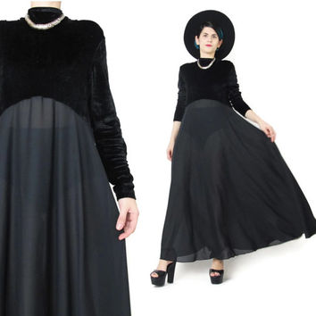 90s Long Sleeve Velvet Dress Black Velvet Maxi Dress Stretchy Velvet Mock Neck Turtleneck Dress Full Sheer Skirt Witchy Grunge Dress (L)