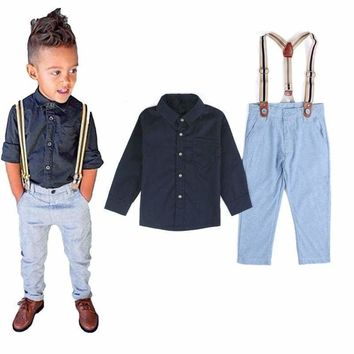 2Pcs Sets Kids Boys Formal Suit Shirt Tops Suspender Long Pants Outfits Clothes