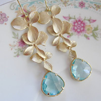Gold Orchid Earrings, Acquamarine Pendant, Faceted Jewel Glass, Three Gold Orchids, Bridesmaid Jewelry