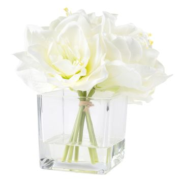 Pure Garden Lily Floral Arrangement with Glass Vase - Cream | Overstock.com Shopping - The Best Deals on Silk Plants
