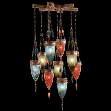 Fine Art Lamps 611040-7ST Scheherazade Nine-Light Pendant in Aged Dark Bronze Finish with Hand Blown Glass in Vibrant Oasis Green, Desert Sky Blue and Sunset Red Glass Colors