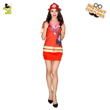 Ladies 3d printed T-shirt Firefighter Costumes Women Cosplay Fancy Suit for Carnival Party Role Play Sexy Fireman Costume