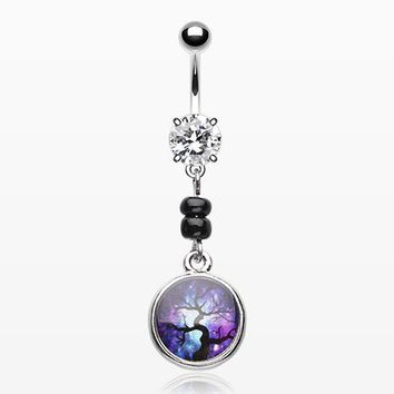 Magical Aurora Tree Orb Belly Button Ring