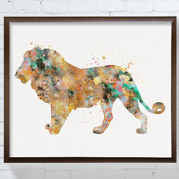 Lion Art, Lion Print, Watercolor Lion, Lion Poster, Lion Illustration, Lion Painting, African Animal, Safari Animal, Kids Room Decor