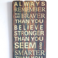 You Are Brave, You Are Strong, You Are Smart, Wooden Sign with Quote, Inspirational Sign, Vintage Style, Wall Art, Distressed Wood Look