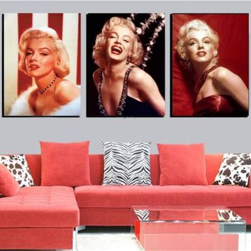 Home Decor Marilyn Monroe Canvas Painting Modern Realist Figure Paintings Posters And Prints Room Art Gallery 3 Piece No Frame