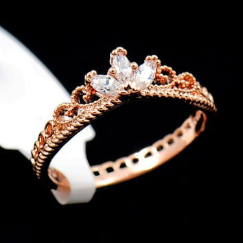 Rose Gold CZ Dainty Crown Ring