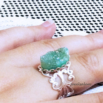 Mint Druzy Ring Silver Gold Gemstone Drusy Geode Mineral Rustic Statement Aquamarine Teal Green Turquoise Crystal Raw Gem Stone Ring C1