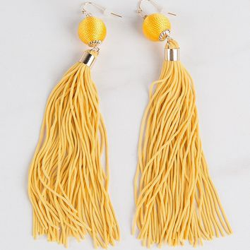 Tassel Oversized Earrigngs in Gold & Royal Blue - AKIRA