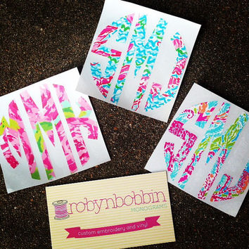 LINYL (Lilly Pulitzer inspired vinyl) MONOGRAM DECAL. Choose your size! Lots of prints to choose from!