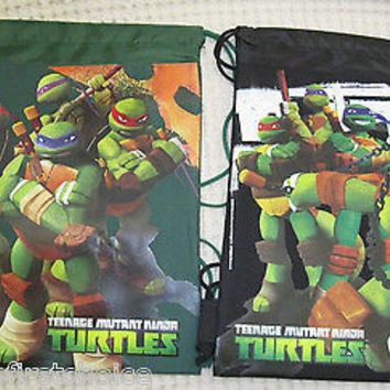 TEENAGE MUTANT NINJA TURTLES BLACK+GREEN DRAWSTRING BACKPACKS TRAVEL BAGS-NEW!