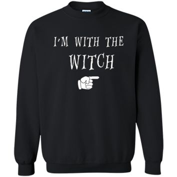 Men's Halloween Couples Costume I'm With The Witch Printed Crewneck Pullover Sweatshirt