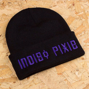 Indigo Pixie black and purple beanie/hat