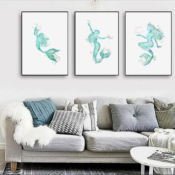 Nordic simple spray paintings painted on canvas Mermaid decorative painting love fish frameless painting triad paintings