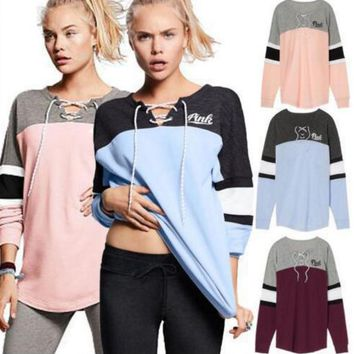 Victoria S Secret Pink Print Women Fashion Hooded Sweatshirt Lace Up Long Sleeve Top