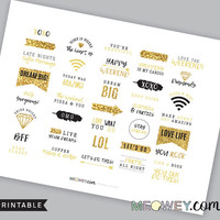 Motivational Ombre Stickers, Black Gold Glitter Printables Weekend Quotes Wifi Headers Arrow Cute DIY Text Planner Fax Diary Happy Scrapbook