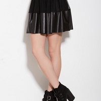 See You Monday Mesh PU Mini Skirt