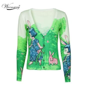 New Woman Sweater Long-sleeved Bunny Girl Pattern Lovely Cute Sweater Cardigan Knitted Coat