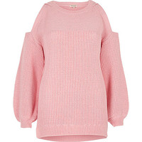 Pink cold shoulder jumper
