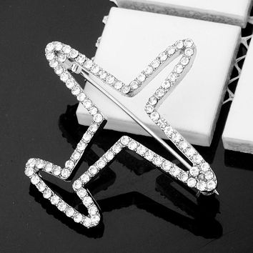 H:HYDE New Crystal Rhinestone Brooches for Women Vintage Fashion Female Jewelry Silver Color Plane Brooch Broches Pins Muje