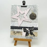 Mixed Media Canvas - Mixed Media Collage - 4 x 5 Canvas - Black and White Collage - Pink Star - Vintage Style - Home Decor - Collage Art
