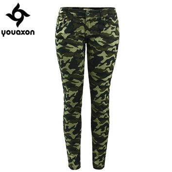 2019 Youaxon Women`s S-XXXXXL Plus Size Chic Camo Army Green Skinny Jeans For Women Femme Camouflage Cropped Pencil Pants