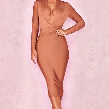 Light Brown Long Sleeve Bandage Dress