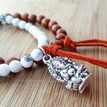 Wood beaded bracelet set | ganesha charm