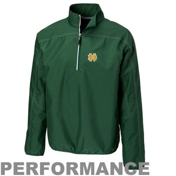 Cutter & Buck Notre Dame Fighting Irish Kenmore Performance Half Zip Pullover Jacket - Kelly Green