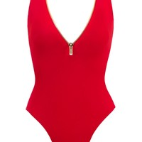 Lea Sporty Deep V One Piece Swimsuit - Red
