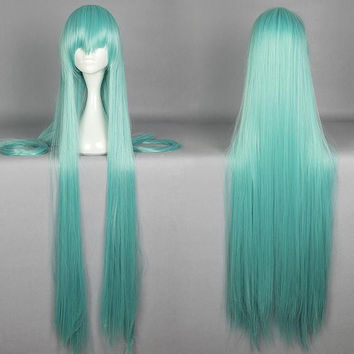 120cm Long Straight Blue KousetsuSamonji Wig Cosplay WIG Cheap Synthetic Hair Anime Wigs Rapunzel Peluca Perucas,Colorful Candy Colored synthetic Hair Extension Hair piece 1pcs WIG-579K