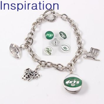 2018 USA Football Fans Jewelry New York Jets Snap Button Link Chain Bracelet With USA National Flag I Love Football Dangle Charm