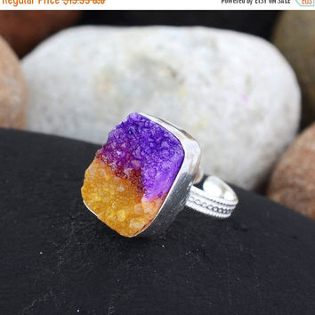 SaleHandmadeJewelry Gorgeous Ametrine Druzy Ring Ametrine Jewelry Boho Jewelry Statement Ring Multi Color Gemstone Ring Druzy Ring Handmade