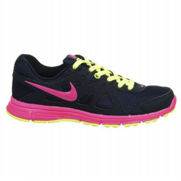 Nike Womens Revolution 2 Obsidian Pink Volt Athletic Running Shoes Size 8.5