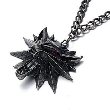 Oaonnea The Witcher 3 Hunt Medallion Necklace Wolf Necklaces for Men (Witcher Necklace)